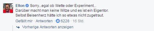 Facebook-Kommentar von Elton