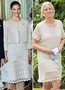 Prinzessin Victoria trug das cremefarbene Spitzenkleid schon 2013, drei Jahre später spaziert Estelles Nanny scheinbar in dem gleichen Kleid durch den Garten von Schloss Solliden