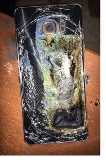 Ein explodiertes Samsung Galaxy Note 7