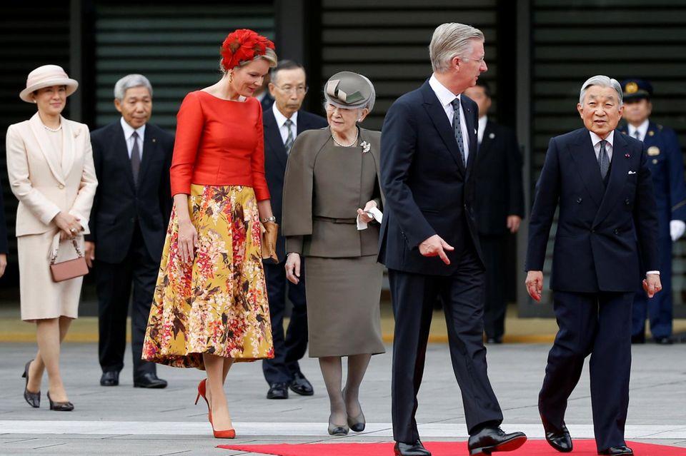 Prinzessin Masako zeigt sich - an der Seite ihres Mannes - beim Staatsbesuch des belgischen Königspaares gut aufgelegt.