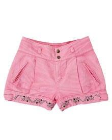 In dieser Saison sehr angesagt: knappe Shorts in Pink mit Strassapplikation von Cavalli