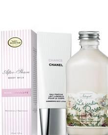 """""""After-Shave Bodymilk"""" von The Art of Shaving (150 ml, ca. 45 Euro); """"Jardin des Roses Körpermilch"""""""