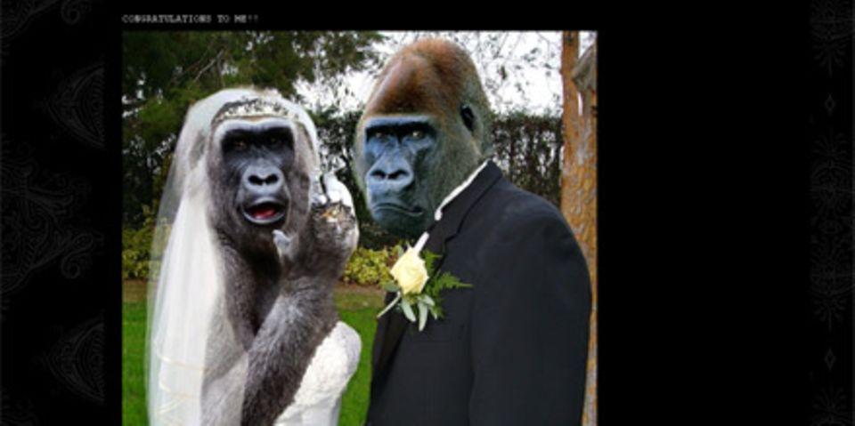 """Das offizielle """"Hochzeitsfoto"""" von Nicole Richie und Joel Madden auf der """"Good Charlotte""""-Internetseite"""