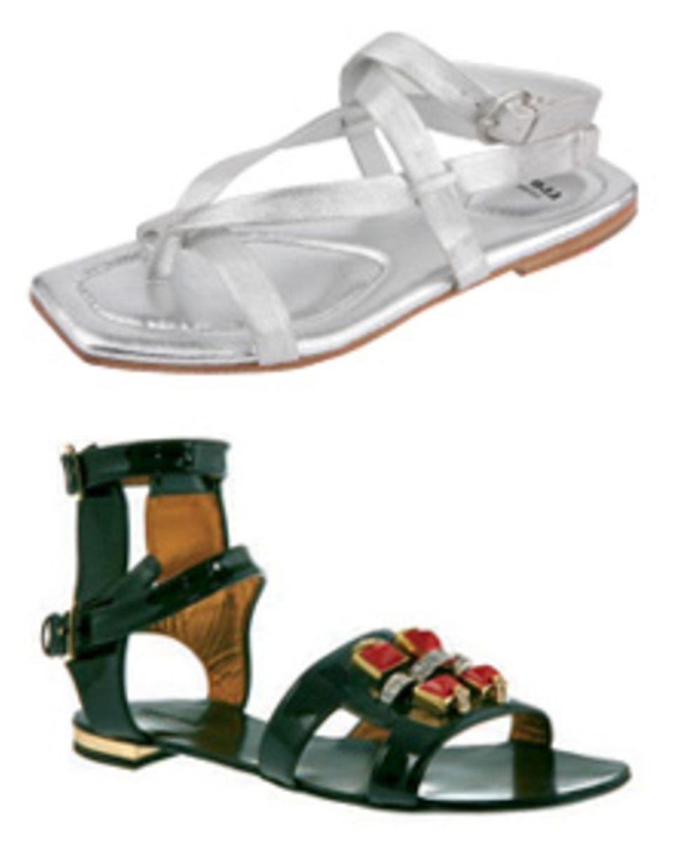 Diese beiden Sandalentrend dominieren diesen Sommer: Der lässige Zehentrenner (oben: LLoyd, ca. 125 Euro) und die Red-Carpet-tau