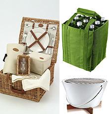 Picknickkorb (ca. 175 Euro, www.artedona.de), Bottlebag (www.reisenthel.de), Picknickgrill ca. 225. Euro, www.connox.de)