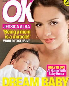 "Jessica Alba mit Honor auf dem Cover des ""OK""-Magazins"