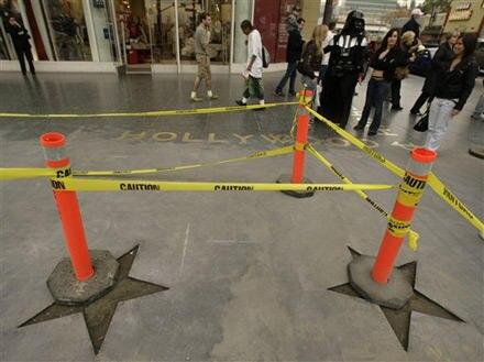 Einige der Sterne wurden bereits für die Restauration entfernt