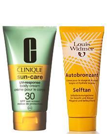 So könnte Ihr Gewinn aussehen: Sonnencreme von Clinique für gesundes Bräunen und ein Selbstbräuner von Louis Widmer zur auffrisc
