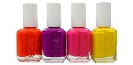 """Die """"Essie Neon Collection"""" umfasst vier Frabtöne: """"Mini Shorts"""" (Orange), """"Bermuda Shorts"""" (Violett), """"Short Shorts"""" (Pink) und"""