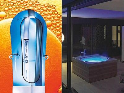 """Die futuristische Dusche """"Cocoon"""" und  die """"Blue Moon""""-Badewanne"""