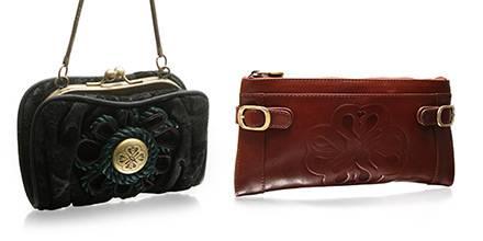 Zwei Modelle aus Mischa Bartons Taschenkollektion: ein an Chanel angelehnter Klassiker und eine rotbraune Clutch