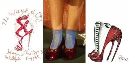 Links: Entwurf der Ruby Slipper vob Sergio Rossi. Rechts: So sieht Kultdesigner Roger Vivier die Ruby Slipper