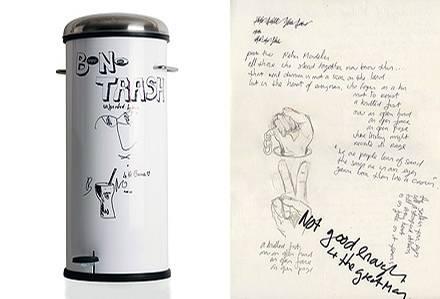 Im Eimer liegen originale Songtexte sowie der erste Entwurf eines Songs für Nelson Mandela anlässlich dessen 90. Geburtstags