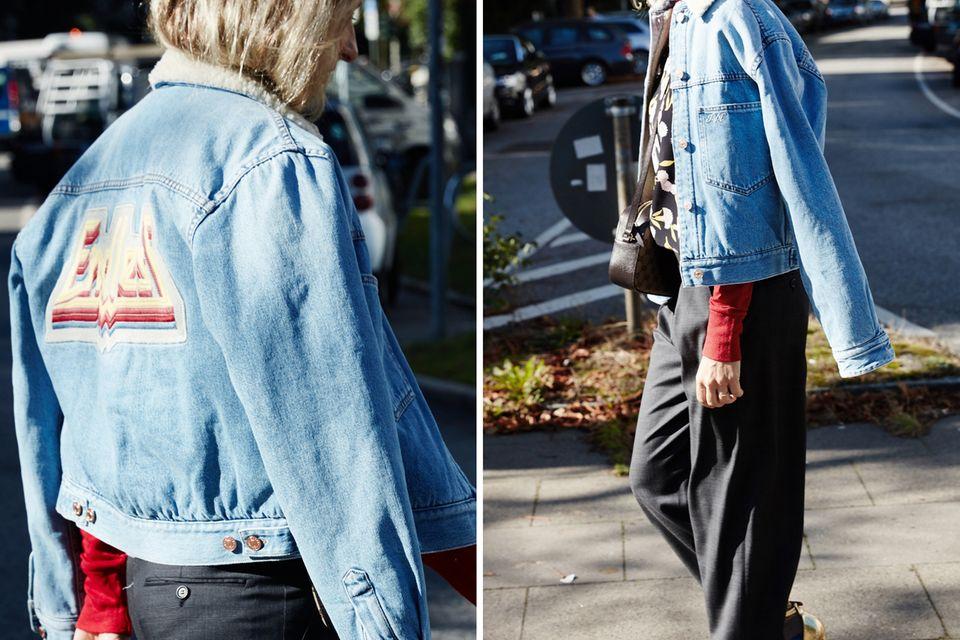So Sue: Die Jeansjacke ist im Herbst nicht wegzudenken. Sue greift zu einem gefütterten Modell mit Teddyfell-Kragen.