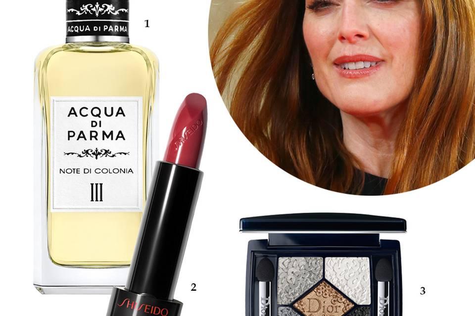 """1. Exquisite Hommage an Italiens Operntradition: """"Note di Colonia III"""" von Acqua di Parma mit Myrrhe und Weihrauch. EdC, 100 ml, ca. 345 Euro; 2. Glamouröse Auswahl an pflegenden Rottönen: """"Rouge Rouge Lipstick"""" von Shiseido, je ca. 29 Euro; 3. Veredeltes Schmuckstück für die Augen: """"Diorific Splendor Palette"""" von Dior, ca. 56 Euro, limitiert"""