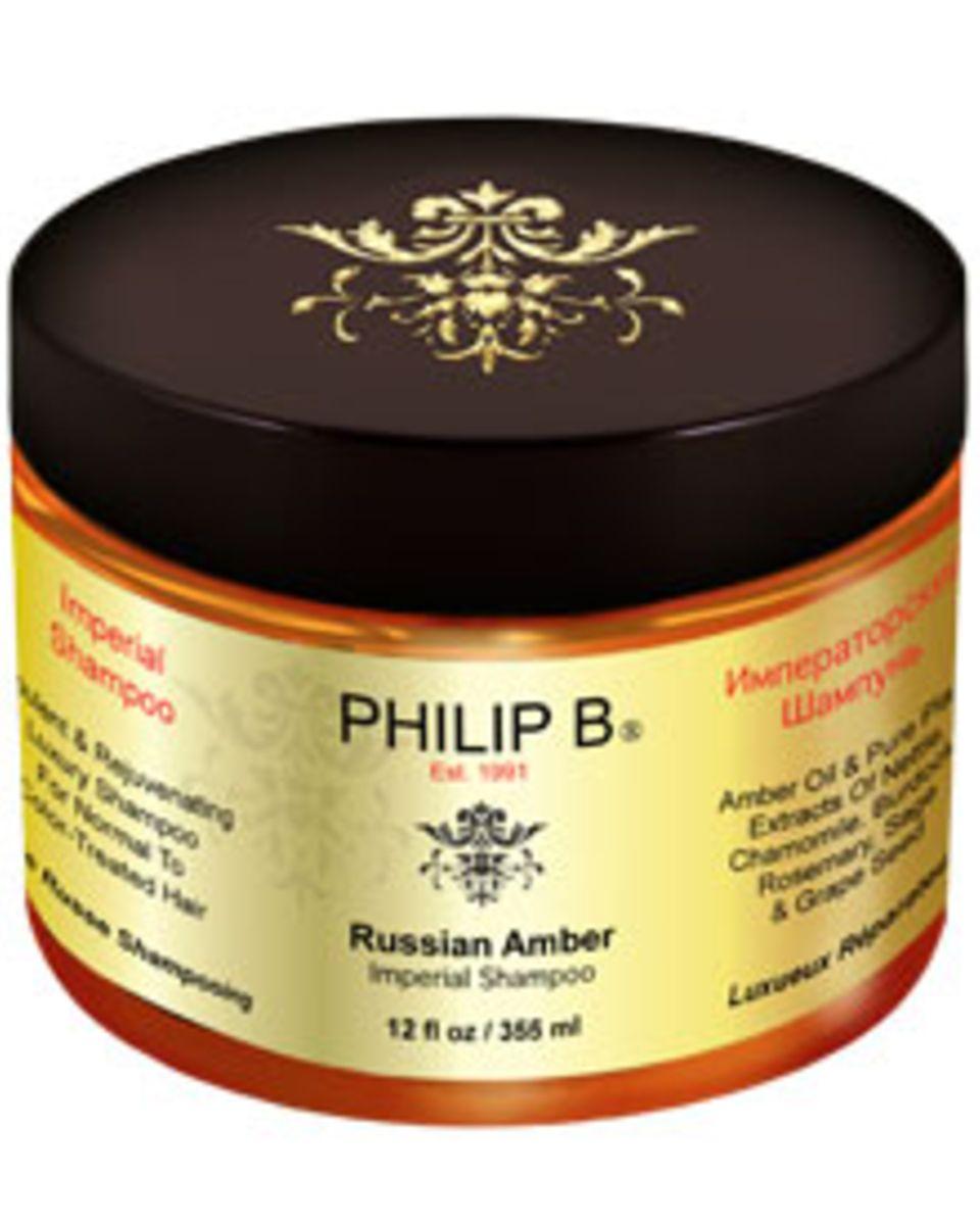 Glanz für gesundes Haar: Das neue Philip B Russian Amber Imperial Shampoo (355 ml, ca. 168 Euro über www.nichebeauty.de)