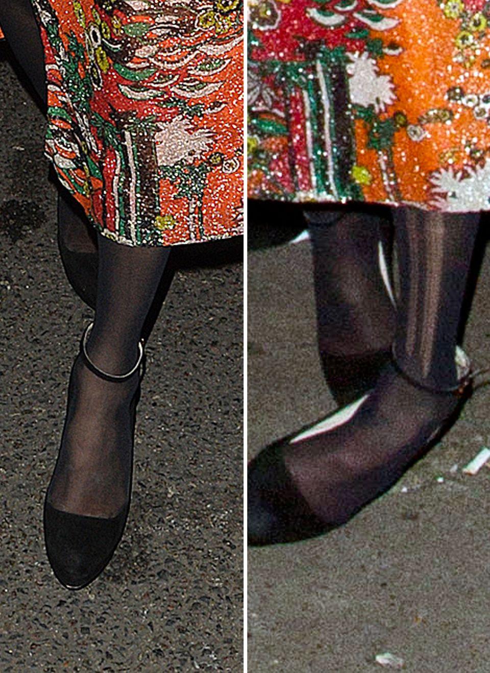 Bei ihrer Ankunft (l.) war die Strumpfhose von Kate Moss noch unbeschädigt. Nach einigen Gläsern Alkohol (r.) konnte das Model nicht mehr geradeaus gehen und die Laufmaschen waren nicht zu übersehen.