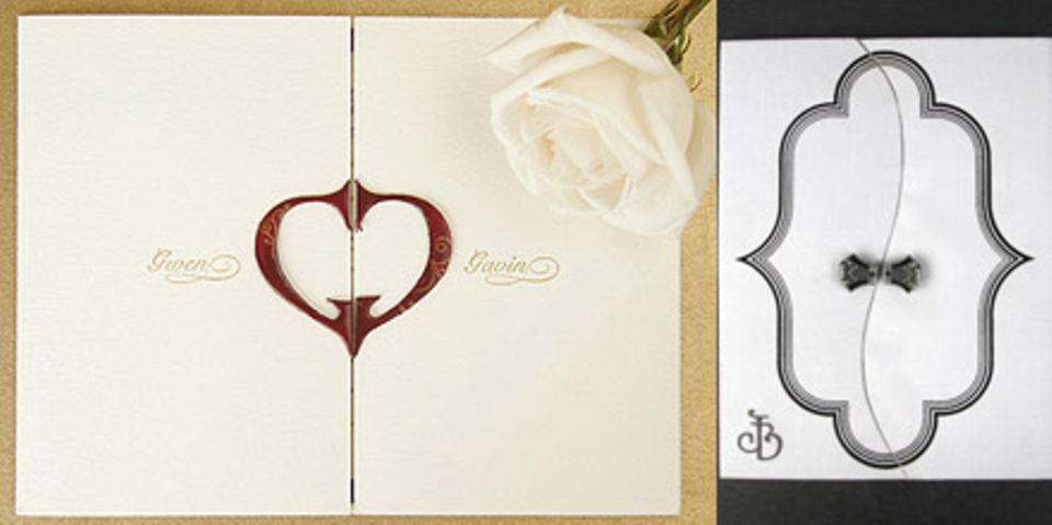 Die Einladungskarte von Gwen Stefani und Gavin Rossdale (links) und von Jennifer Lopez und Ben Affleck (rechts)