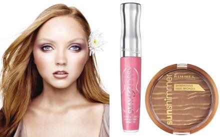 """Wild Urban Flower nennt sich der Sommerlook von Rimmel: """"Stay Glossy Lipgloss"""" und """"Sunshimmer Shimmering Maxi Bronzer"""""""