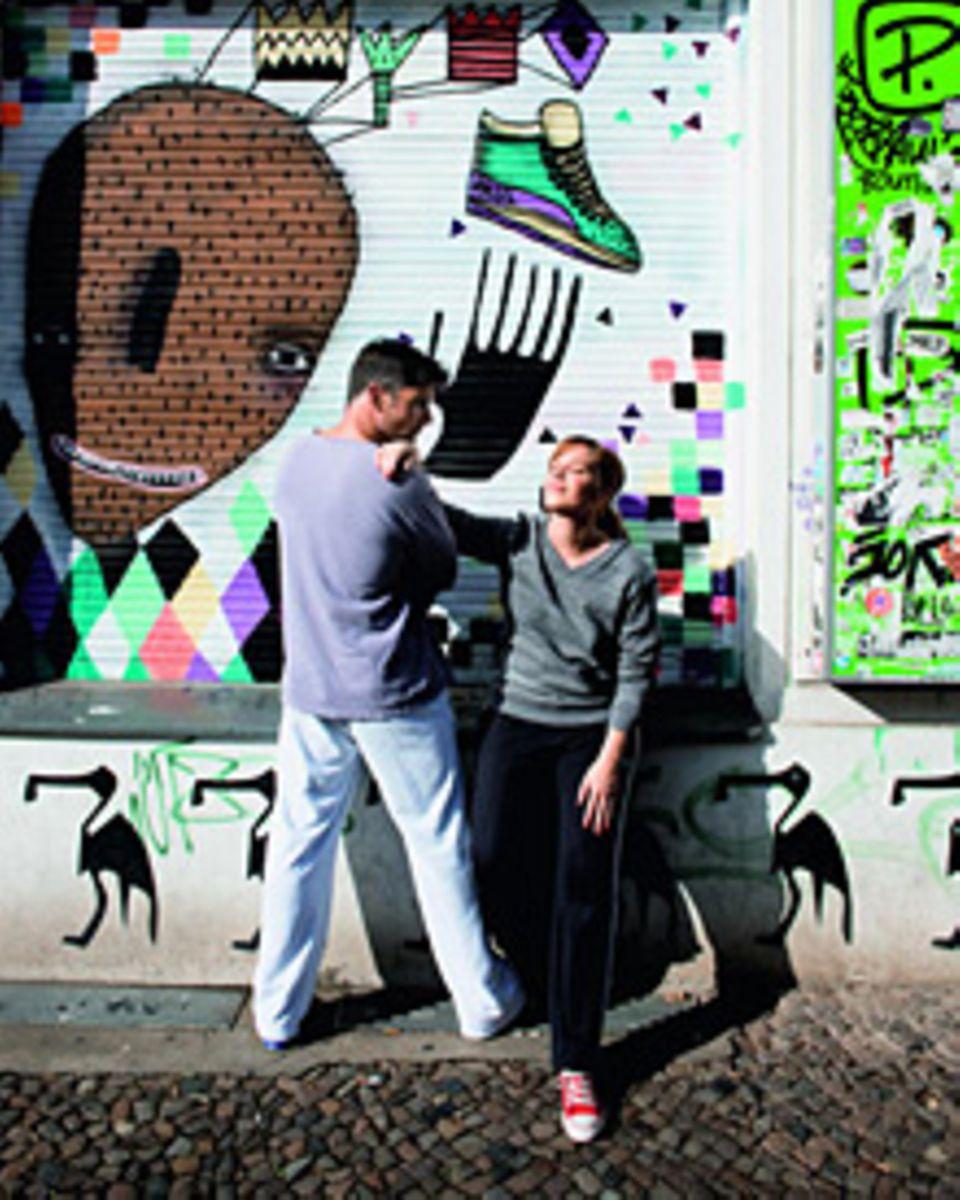 Franka Potente geht morgens um sieben mit Karsten Schellenberg in Berlin-Prenzlauerberg laufen