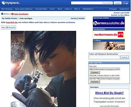 """Rihanna bei der Arbeit - das beweist ein Screenshot auf der Myspace-Seite von """"BangBang"""""""