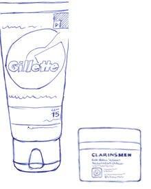 """""""Feuchtigkeitscreme"""" mit LSF 15 von Gillette Series, 75 ml, ca. 8 euro. """"Anti-Rides Fermeté"""" von Clarins men, 50 ml, ca. 52 Eu"""