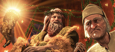Der Geist der gegenwärtigen Weihnacht zeigt dem alten Ebenezer, wo es lang geht.