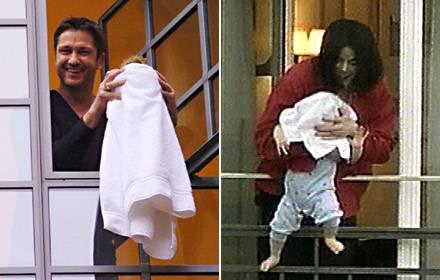 Was dem einen die Topfpflanze, ist dem anderen der jüngste Sohn - aber sowohl Gerard Butler als auch Michael Jackson freuen sich