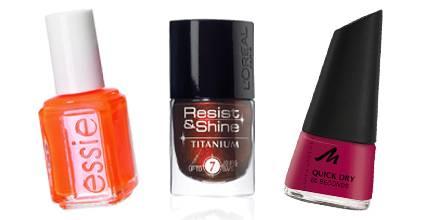"Lack-News: ""Bright Tights"" von Essie (ca. 13 Euro)m ""Resist & Shine Titanium Black Gloss"" von L?Oréal Paris (Nr. 734, ca. 8 Euro"