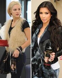American-Idol-Finalistin Katherine McPhee entschied sich für Team Edward, Kim Kardashian trinkt lieber aus der Tema Jacob Flasch
