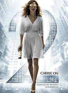"""Sarah Jessica Parker zeigt sich mit goldener Brille auf dem """"Sex and the City 2""""-Filmplakat."""