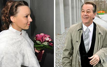 Ganz traditionell kamen Michelle Schumann und Franz Müntefering getrennt zu ihrer Hochzeit.