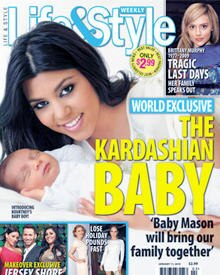 """Kourtney Kardashian und Mason Dash auf dem Cover der """"Life und Style""""."""