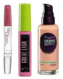 """Erin Wassons Essentials: """"Super Stay Gloss"""", """"Pure Make-Up Mineral und """"Great Lash Mascara"""" von Maybelline."""