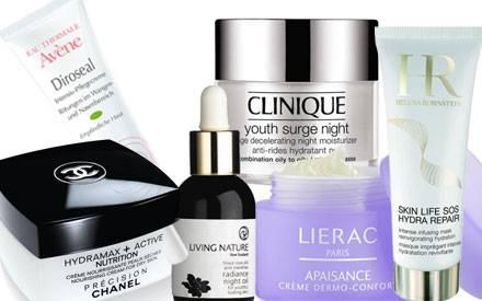 Chanel, ca. 56 Euro; Avène, ca. 20 Euro; ivin Nature, ca. 69 Euro; Clinique, ca. 54 Euro; Lierac, ca. 34 Euro; Helena Rubinstein