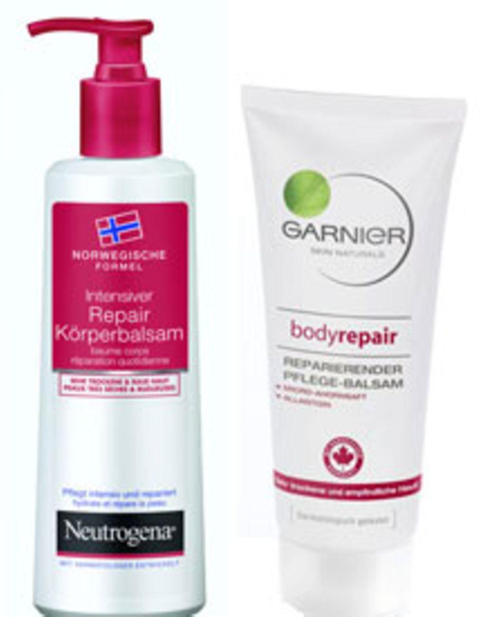 Intensiver Repair Körperbalsam von Neutrogena, ca. 5 Euro; Reparierender Pflegebalsam von Garnier, ca. 8 Euro.