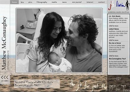Auf seiner Homepage zeigen Matthew McConaughey und Camila Alves das erste Bild ihrer kleinen Vida.
