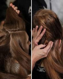 Zunächst wird das Haar in vier Bereiche geteilt. Der tooupierte Hinterkopf wird später mit Nadeln befestigt.