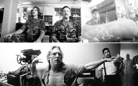 """Am Set von """"Männer die auf Ziegen starren"""" fotografierte Jeff Bridges fleißig: starre Blicke von George Clooney (o.l.) und Kevin"""