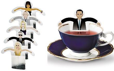 Berühmte Teebeutelhalter aus Mode und Politik machen den Nachmittagstee zum Fest.