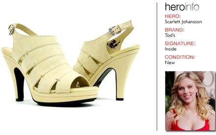 """Scarlett Johansson unter stützt das Projekt """"Hero in Heels"""" mit einem Paar schicker Schuhe von Tod's."""