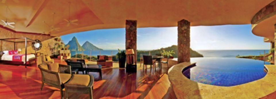 Die Suiten besitzen nur drei Wände und gewähren einen fantastischen Ausblick.