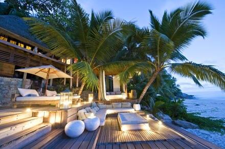 """Dies ist eines der Bungalows des """"North Island Hotel"""", in dem Salma Hayek und Francois Henri-Pinault ihre Flitterwochen verbrach"""