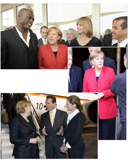 "Angela Merkel in Hollywood: rechts vor dem ""Four Seasons"", oben Heidi Klum und Seal beim Bürgermeister-Empfang, links Gouverneur"
