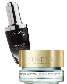 """Genifique""- Konzentrat von Lancome, 30 ml, ca. 80 Euro. ""Prevent & Optimize Day Cream"" von Juvena, 50 ml, ca. 60 Euro"