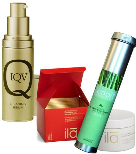 """De-Aging Serum"" von IQV., 30 ml, ca. 250 Euro. ""Body Balm for Feeding Skin and Senses"" von Ila, 200 gr, ca. 50 Euro. ""Kitami Te"
