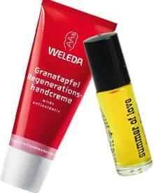 """""""Granatapfel""""- Handcreme von Weleda, 50 ml, ca. 8 Euro. """"Summer of Love"""" von Rich Hippie, 4 ml, ca. 45 Euro"""