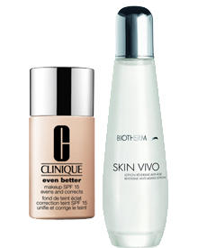 """Even Better Makeup"" von Clinique, 50 ml, ca. 27 Euro. ""Skin Vivo Reversive Anti-Aging Lotion"" von Biotherm, 125 ml, ca. 50 Euro"