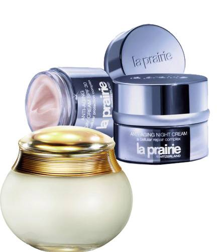 "Luxus-Lady, ""Anti-Aging Day Cream"" und ""Night Cream"" von La Prairie, je 50 ml, 165 Euro. Edel und schwer: ""J ?adore Body Cream"""