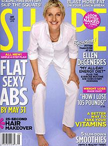 "Ellen DeGeneres strahlt auf dem Cover der aktuellen US-""Shape""."